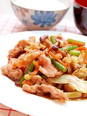 豚肉と野菜の山椒照り焼き炒め