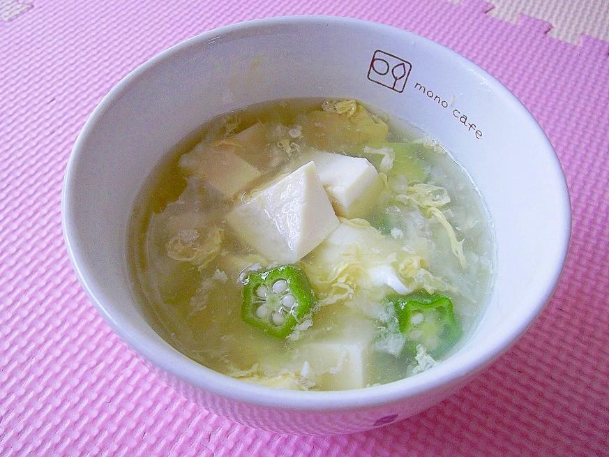 豆腐とオクラのかき玉おろしスープ~中華風~