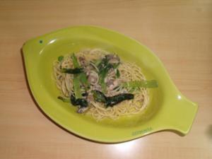 小松菜とオイルサーディンの簡単パスタ