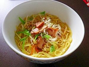水菜とチャーシューの冷やしラーメン