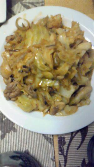 春キャベツと鶏肉の炒め物
