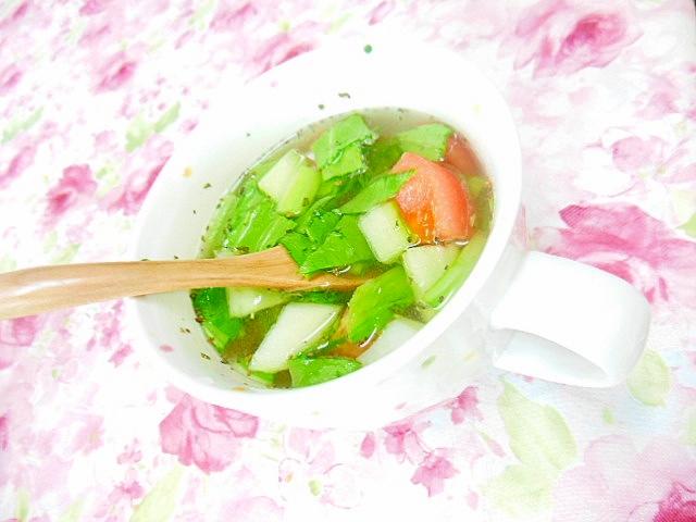 青梗菜とトマトの玉葱・生姜スープ