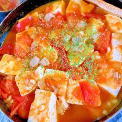塩豚とトマトのもち麦入り麻婆豆腐