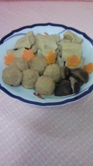 高野豆腐と鶏だんごの炊き合わせ