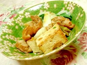ウナギのタレdeしっかり味の鶏肉葱豆腐の炒め物