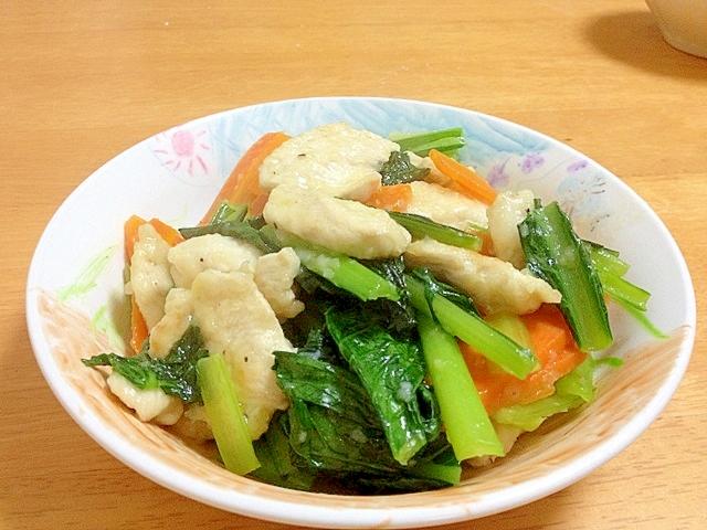 小松菜と鶏ムネ肉のあっさり中華炒め