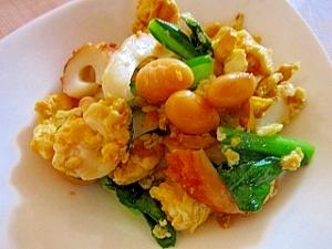小松菜と竹輪の大豆炒め