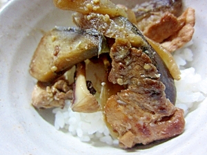 茄子と豚肉の味噌炒め丼☆