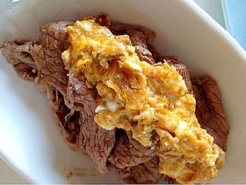 4. 牛肉ソテーの卵ソースがけ