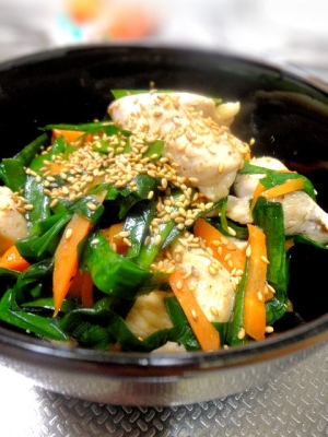 簡単主菜☆鶏肉とニラの炒め物