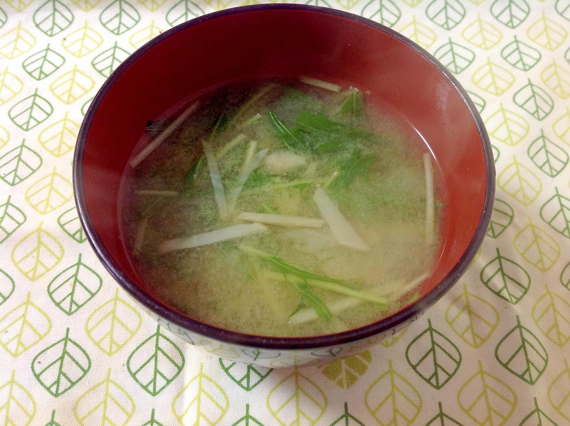 菊芋と水菜の味噌汁(o^^o)