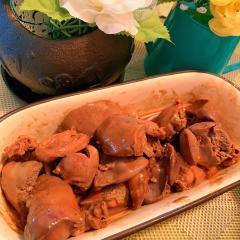 鶏レバーのごま辣油ぽん酢煮