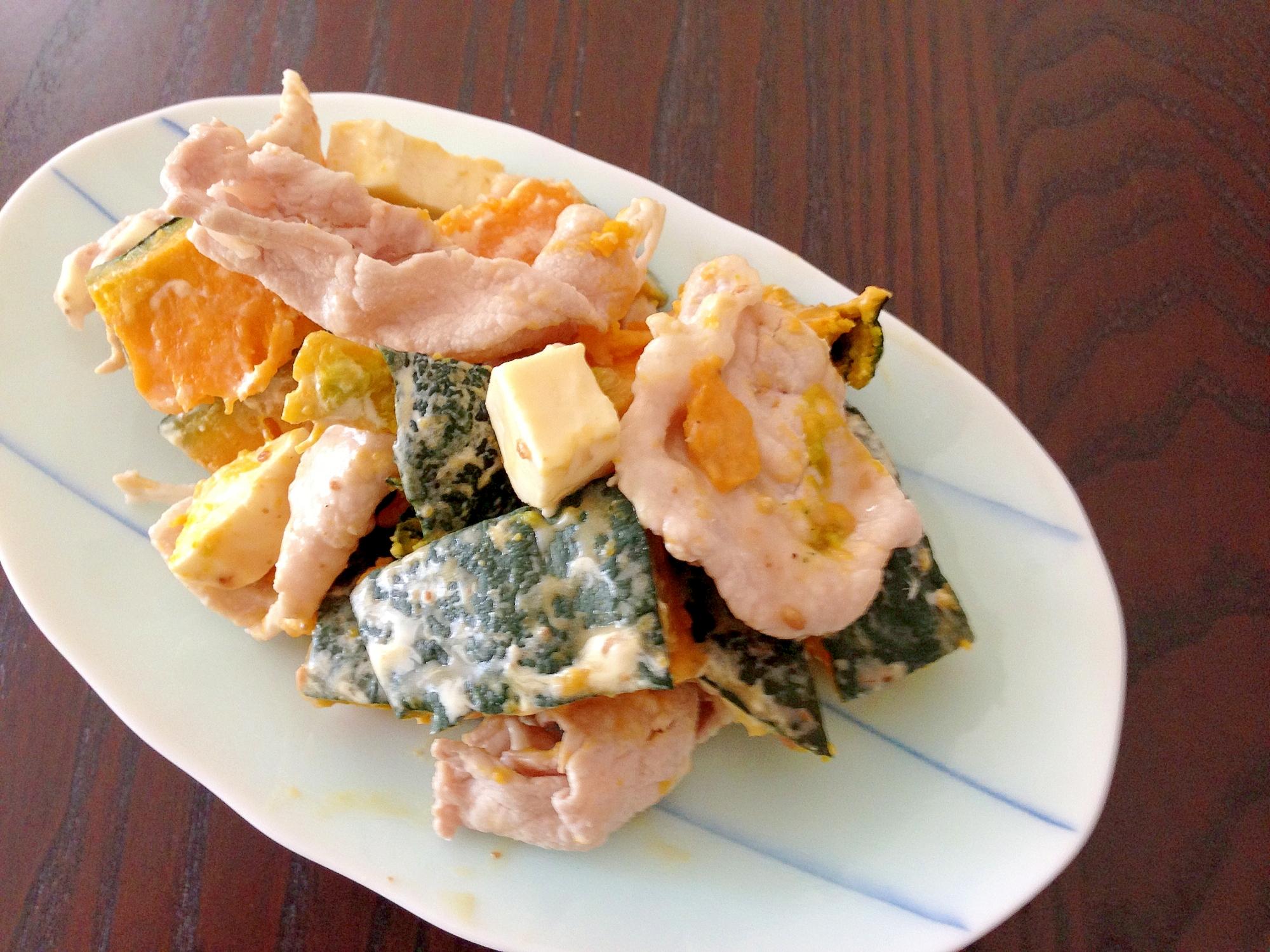 レンジ蒸しカボチャと豚しゃぶのサラダ