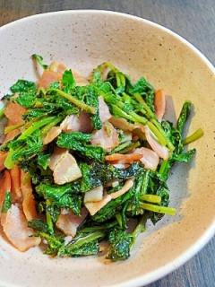 ラディッシュの葉とベーコンの炒め物