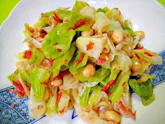 茹でキャベツと大豆桜海老のサラダ