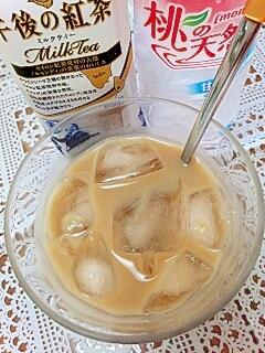 アイス☆桃の青汁ミルクティー♪