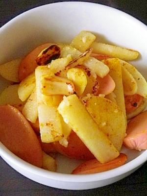 山芋とギョニソの塩麹カレー炒め