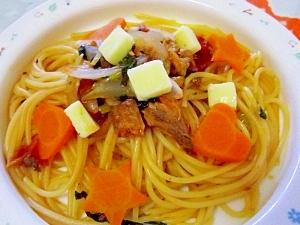 イワシ缶のチーズトマトスパゲティ