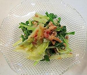 簡単!レンジでチン♪水菜とレタスの和え物