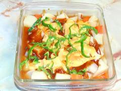 レンジで完結!根菜のスープ煮&カレーソースがけ♪