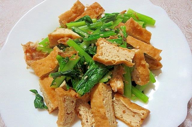 厚揚げと小松菜の胡麻炒め