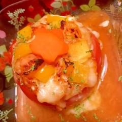 鶏ささみの旨辛キムチーズトマトグラタン