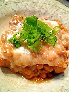 フライパンで厚揚げの納豆チーズ焼き♪