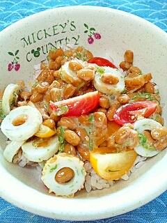 納豆の食べ方-ちくわ&トマト&大葉♪