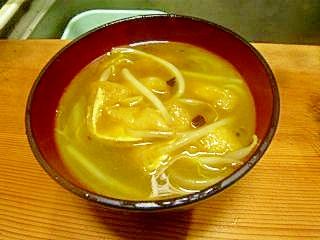 もやしと油揚げのピリ辛カレースープ