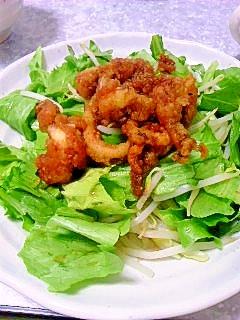 イカの天ぷらとレタスのサラダ