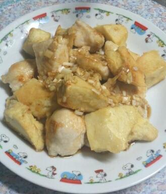 鶏肉と高野豆腐の一口ネギソース