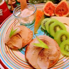 和梨のバターマフィントースト