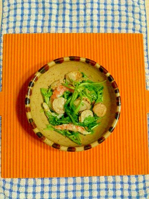 春菊とシーフードのサラダ♪