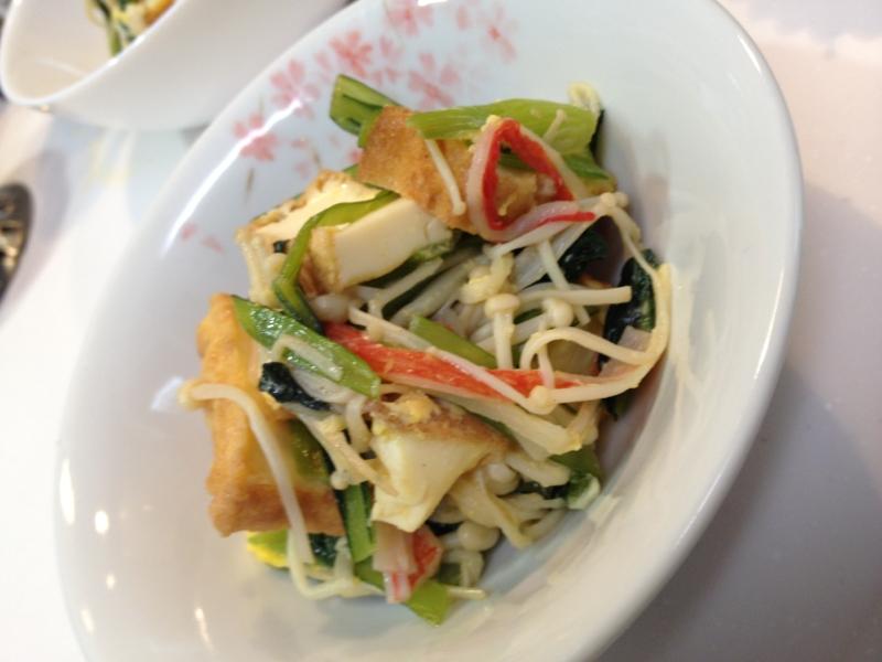 小松菜と厚揚げのマーガリンポン酢炒め