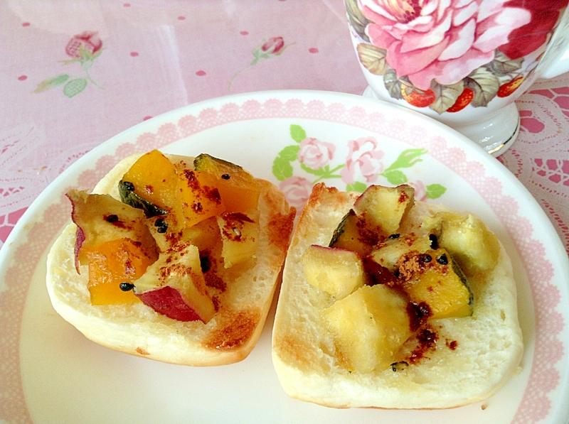 かぼちゃとさつまい芋の大学芋風トースト