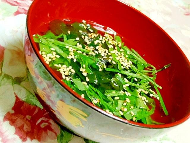 香りよくワカメと大葉と生姜の簡単スープ