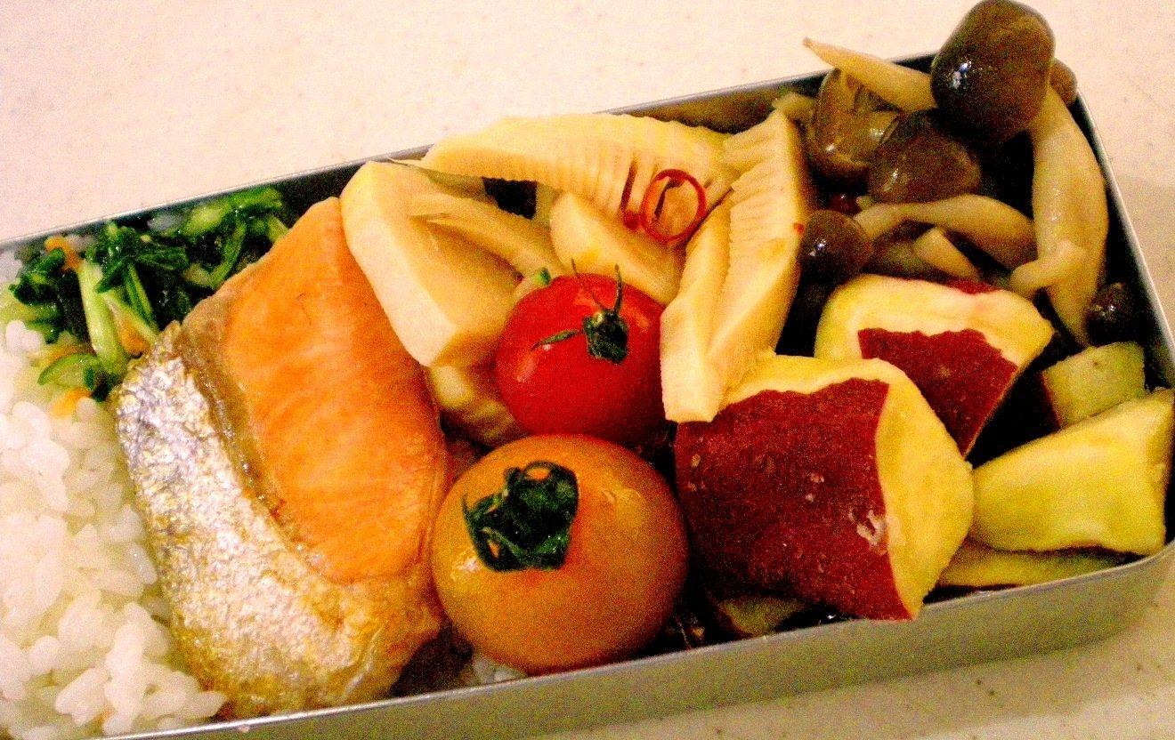 塩鮭と野菜のお弁当