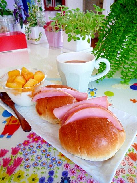 ロールサンドとヨーグルトの朝食♪