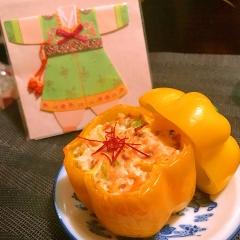 パプリカの韓国風*雑穀鶏ささミンチ詰