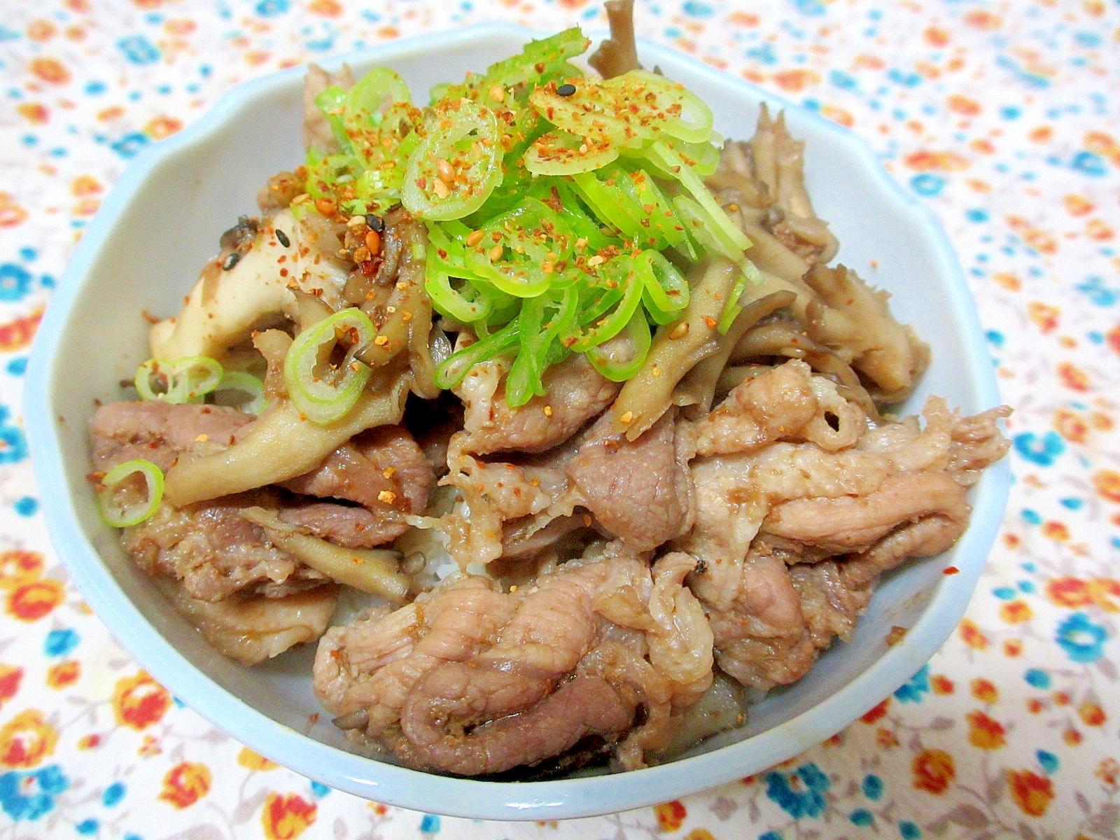 豚肉と舞茸の生姜煮丼