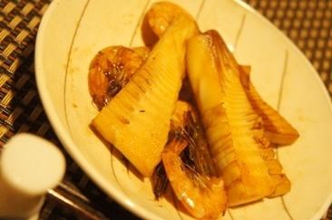フライパンで簡単、芝えびとタケノコの照り焼き