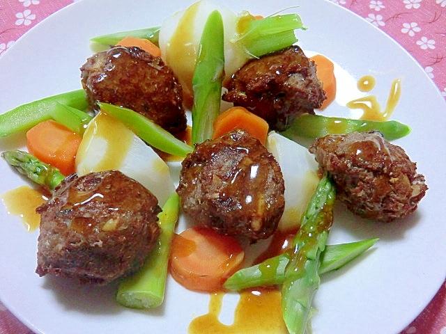 秋野菜とサンマボールのカボスソース添え