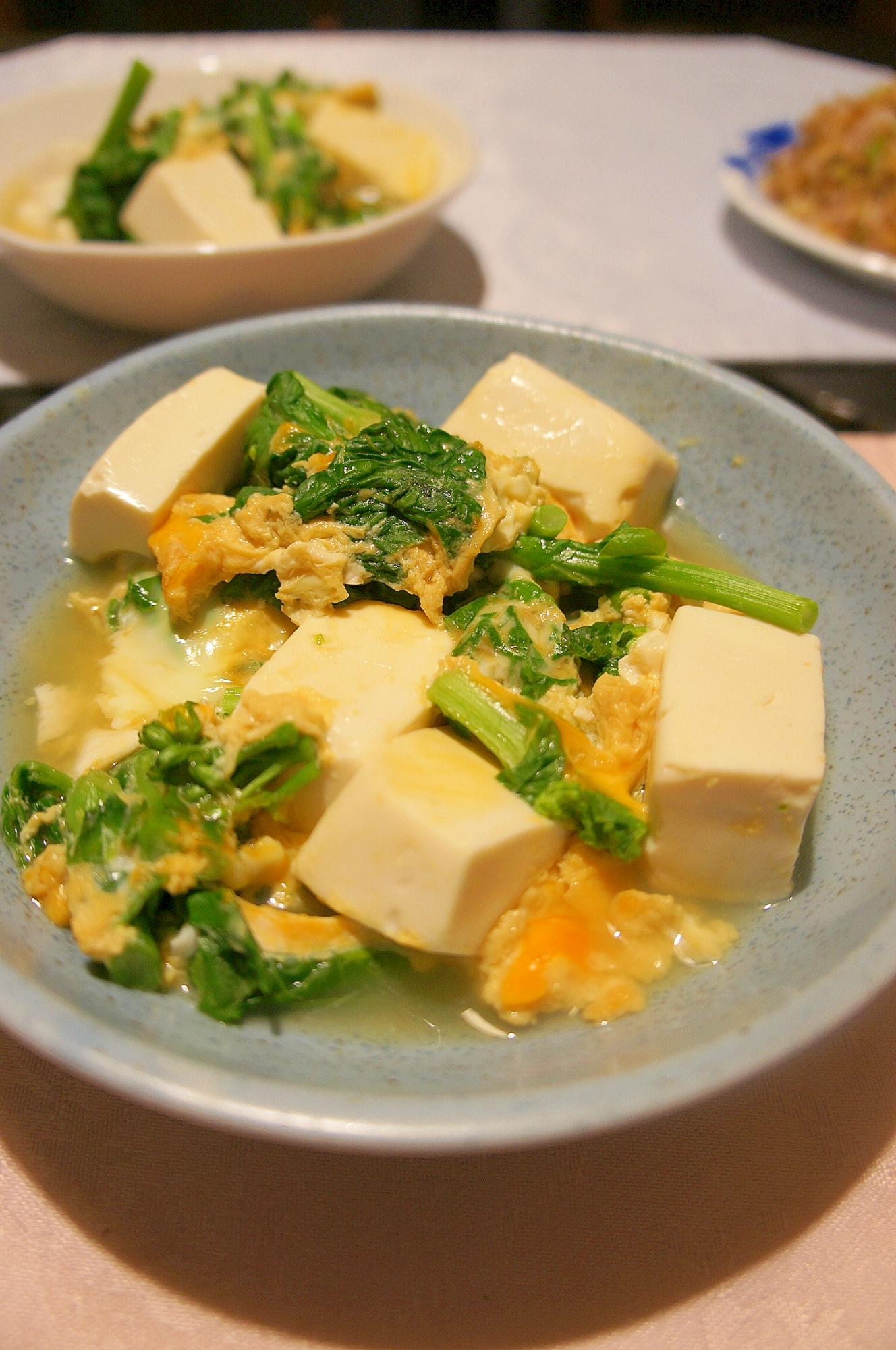 3. 菜の花と豆腐のふわっと卵とじ