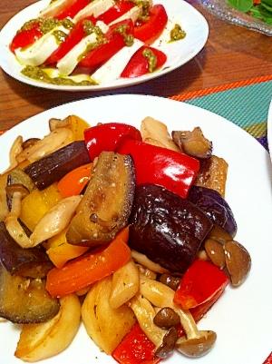茄子とパプリカと蕪の洋風炒め