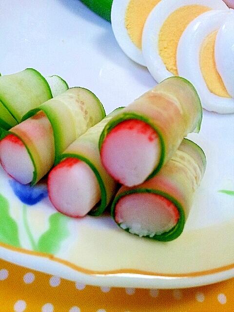 かわいいお弁当のおかず✿かにかまのきゅうり巻き❤ レシピ・作り方