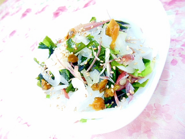 キューちゃんと玉葱&ワカメ&茗荷の胡麻サラダ