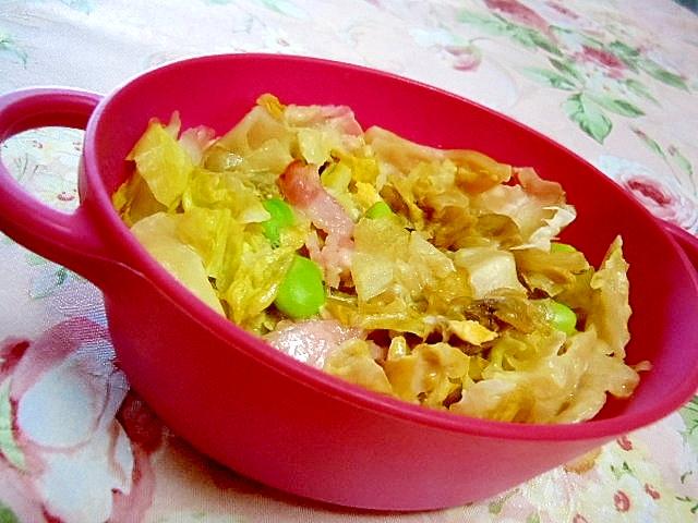 枝豆&ベーコン&レタス&卵の粉チーズのレンチン