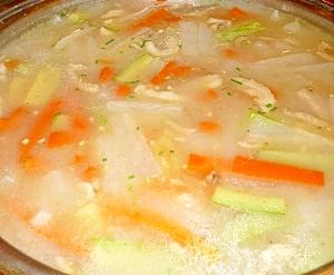 炒めて煮るからコクが出る!鶏肉と野菜の中華スープ