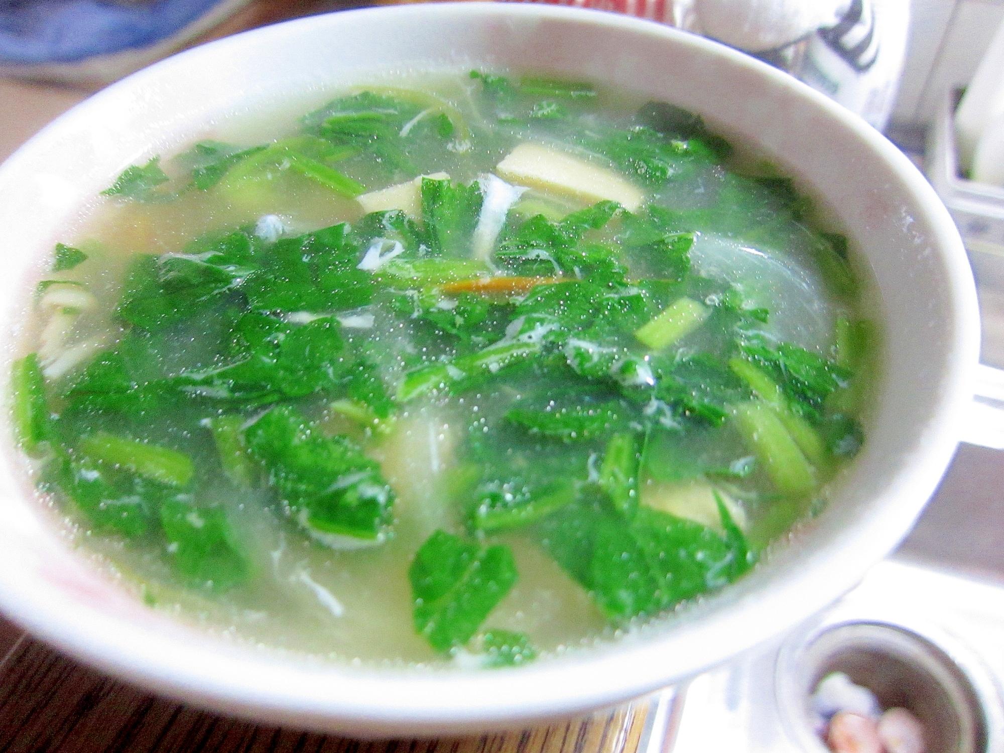 ほうれん草と豆腐のかきたまスープ☆