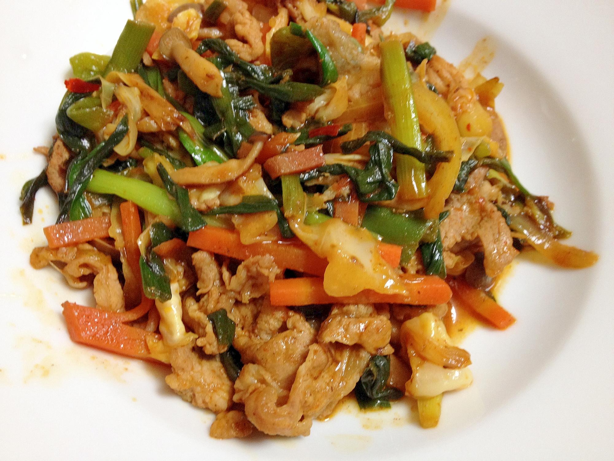 キムチ鍋の素で野菜炒め